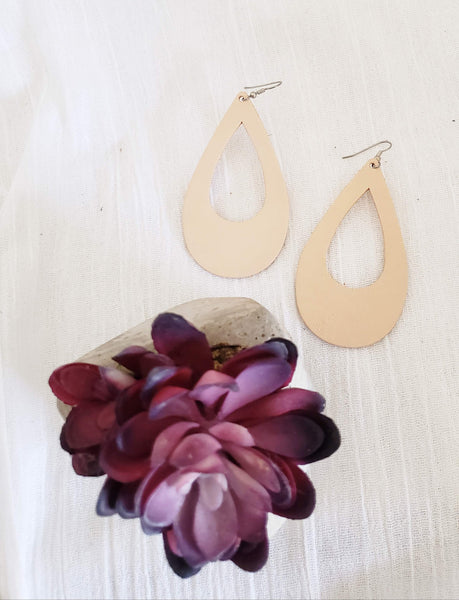 "Nude / Leather Teardrop Earrings / Cutout / Large / 3.25 x 2"" / Hypoallergenic / FREE SHIPPING"