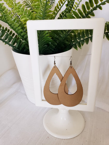 Rustic Taupe / Leather Teardrop Earrings / Cutout / Large / 3.25 x 2""