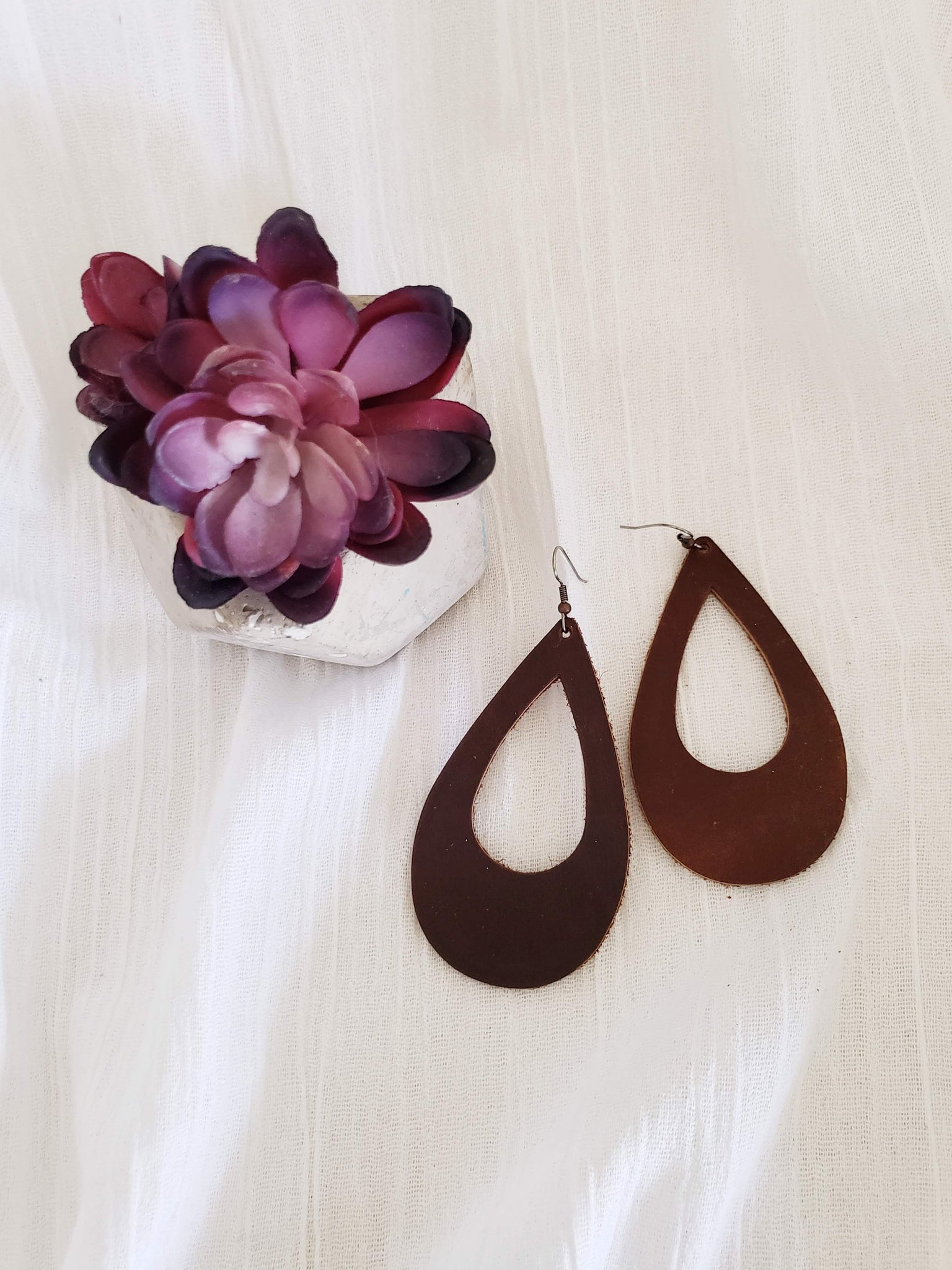 Chocolate Brown / Leather Earrings / Cutout / Teardrop Style / Large / FREE SHIPPING