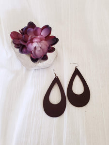 "Espresso / Leather Teardrop Earrings / Cutout / Large / 3.25 x 2"" / FREE SHIPPING"