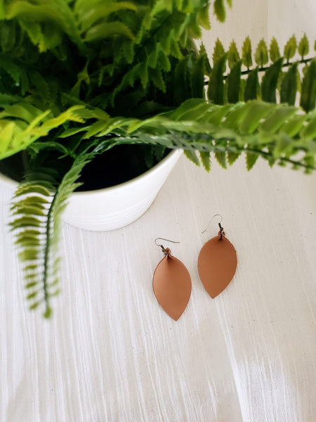 Camel /Leather Earrings / Leaf Style / Medium / FREE SHIPPING
