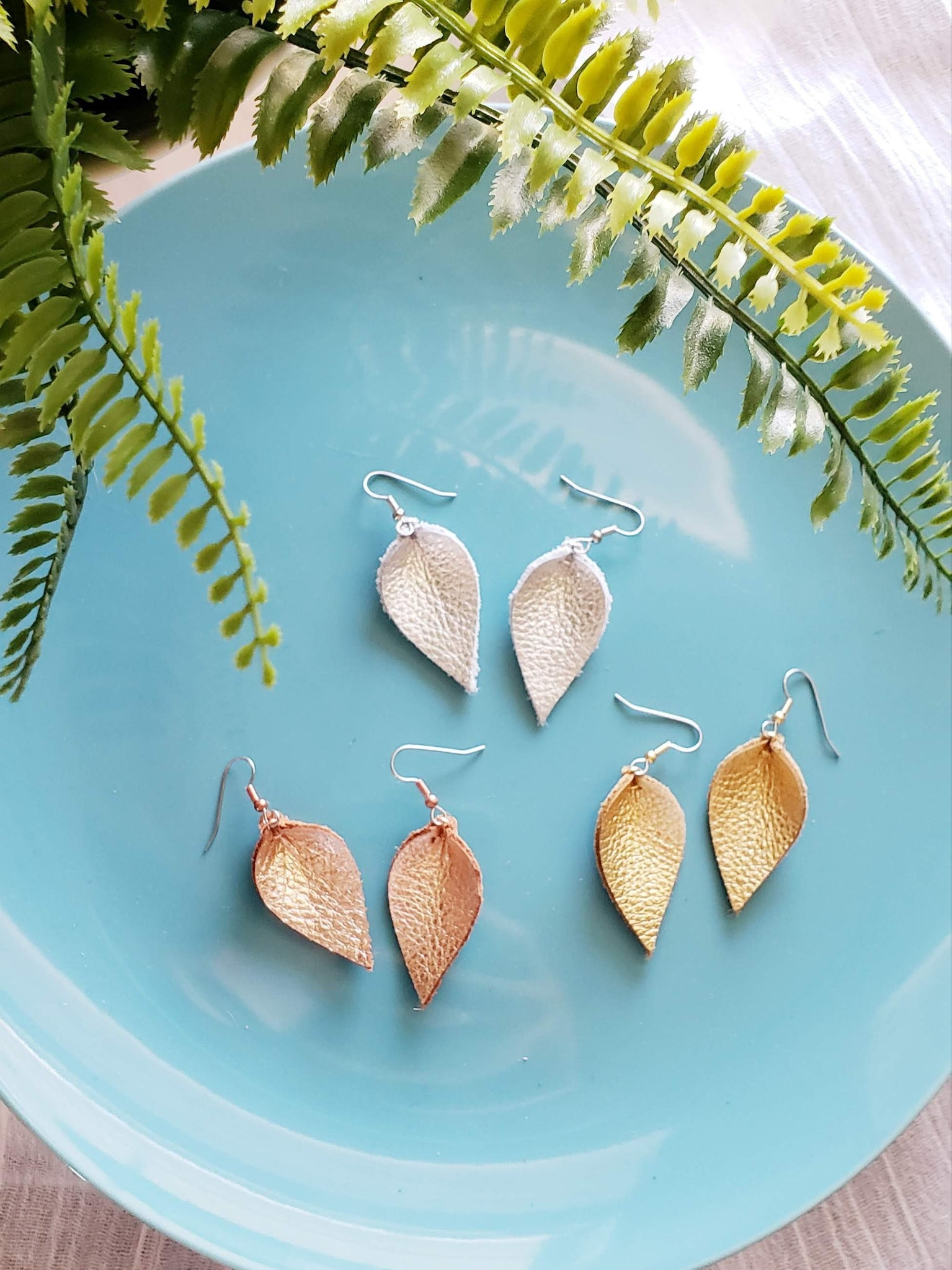 "Leather Leaf Earrings / Multi-Pack / Small / 1.75 x 1"" / Metallics / Gold, Silver, Rose Gold"