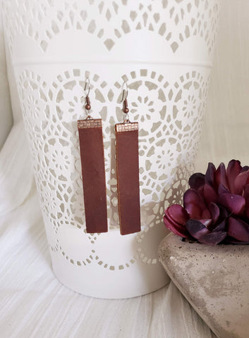 Chocolate Brown / Leather Earrings / Bar Style / Medium / FREE SHIPPING