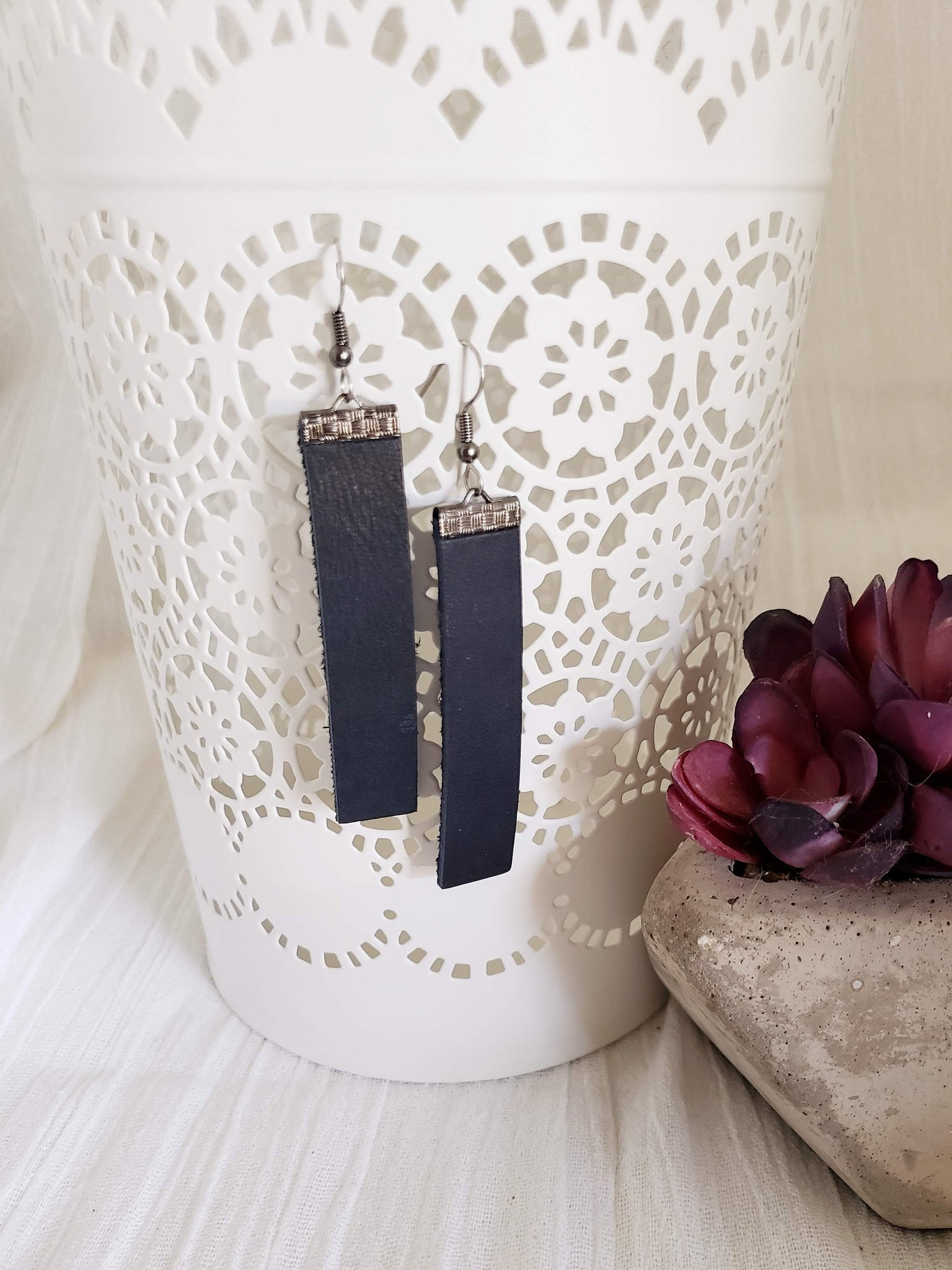 Black n' Blue / Leather Earrings / Bar Style / Medium / FREE SHIPPING