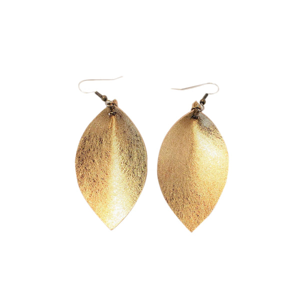 "Matte Metallic Gold / Leather Leaf Earrings / Medium / 2.5 x 1.25"" / Hypoallergenic / FREE SHIPPING"