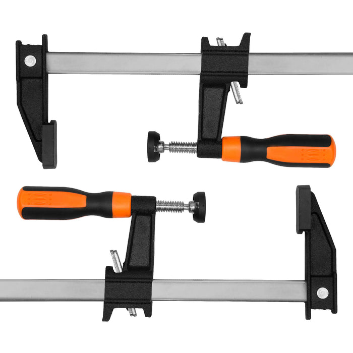 WEN 10206F2 Quick-Adjust 6-Inch Steel Bar Clamps with 2.5-Inch Throat and Micro-Adjustment Handle, Two Pack