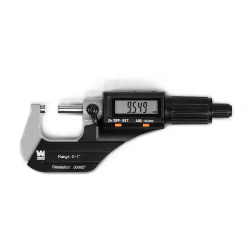 WEN 10725 Standard and Metric Digital Micrometer with 0 to 1-Inch Range, .00005-Inch Accuracy, LCD Readout and Storage Case