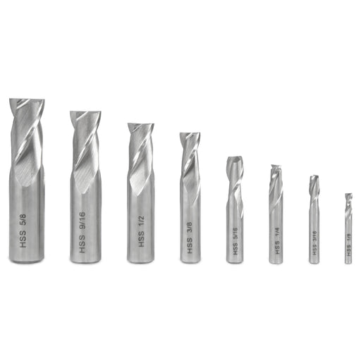 WEN 33108A 8-Piece 2-Flute HSS End Mill Set for Milling Machines