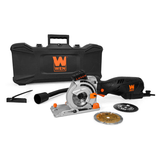 WEN 3620 5-Amp 3-1/2-Inch Plunge Cut Compact Circular Saw with Laser, Carrying Case, and Three Blades