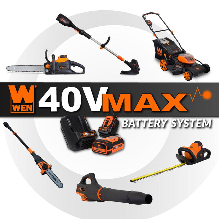 WEN 40417 40V Max Lithium Ion 16-Inch Brushless Chainsaw with 4Ah Battery and Charger