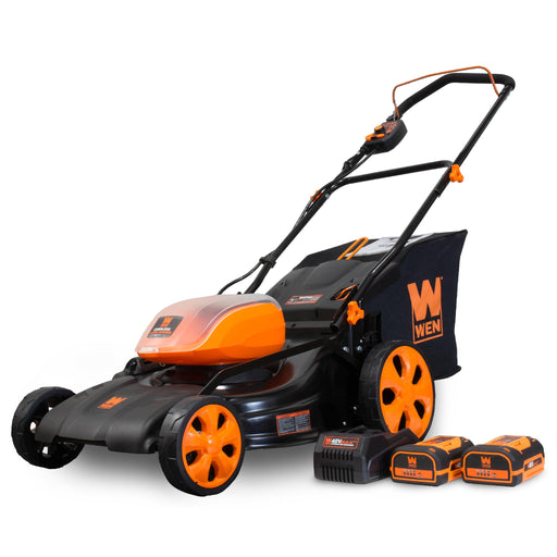 WEN 40439 40V Max Lithium Ion 19-Inch Cordless 3-in-1 Lawn Mower with Two Batteries, 16-Gallon Bag and Charger