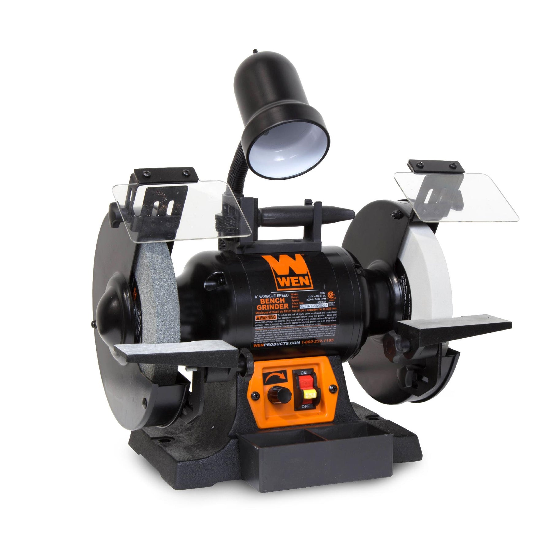 Sensational Wen 4280 5 Amp 8 Inch Variable Speed Bench Grinder With Work Light Ncnpc Chair Design For Home Ncnpcorg