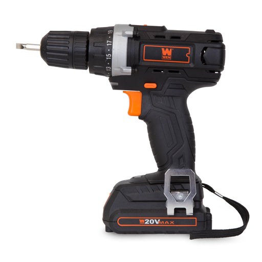 WEN 49120 20-Volt MAX Lithium-Ion Cordless Drill/Driver w/ Bits and Carrying Bag