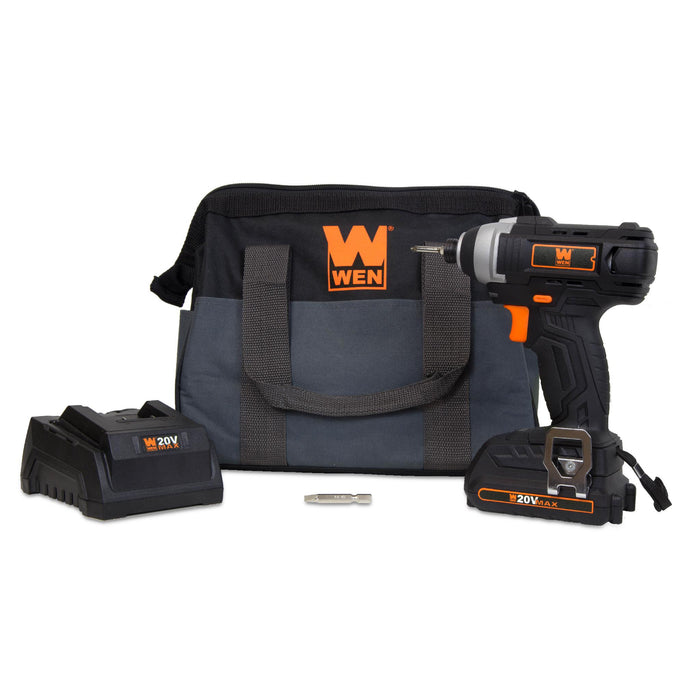 WEN 49135 20-Volt MAX Lithium-Ion Cordless 1/4-Inch Impact Driver w/ Battery, Bits, Charger and Carrying Bag
