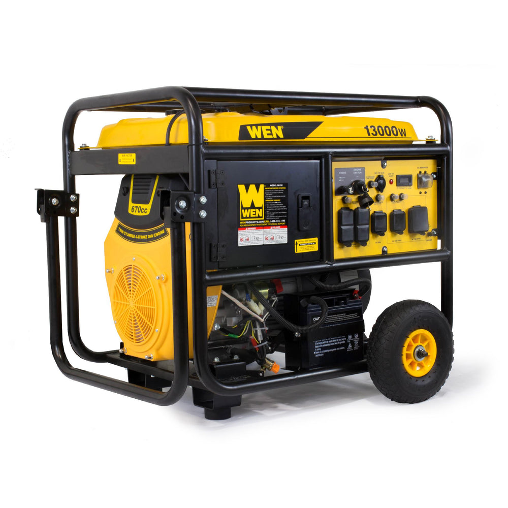 WEN 5613K 13000-Watt Portable Standby Generator with Wheel Kit and Electric Start