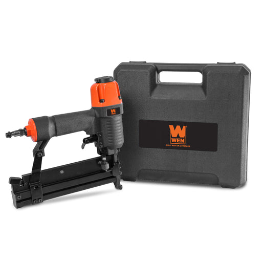 WEN 61718 18-Gauge 2-Inch 2-in-1 Pneumatic Brad Nailer and Stapler with Carrying Case and Safety Glasses
