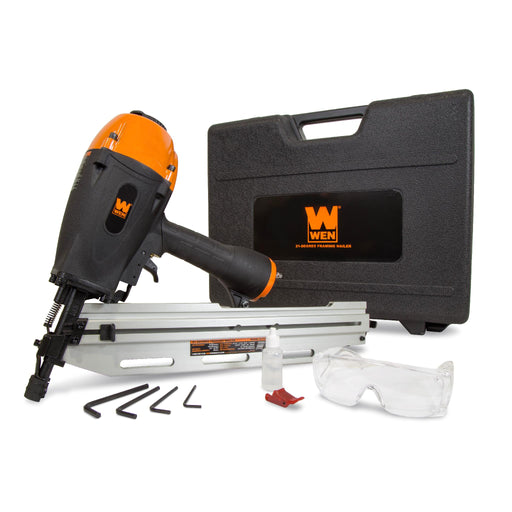 WEN 61793 21-Degree Pneumatic Framing Nailer with Carrying Case