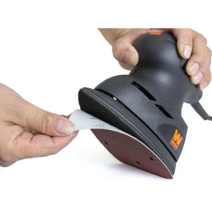 WEN 6301SP240 Detailing Palm Sander 240-Grit Hook and Loop Sandpaper (10-Pack)