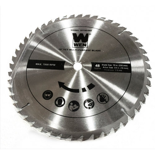 "[70730-002] 10-Inch Blade (Standard) 48 Teeth (255mm), Arbor size 5/8"" (16mm), Thickness (2.8mm) for WEN 70730"