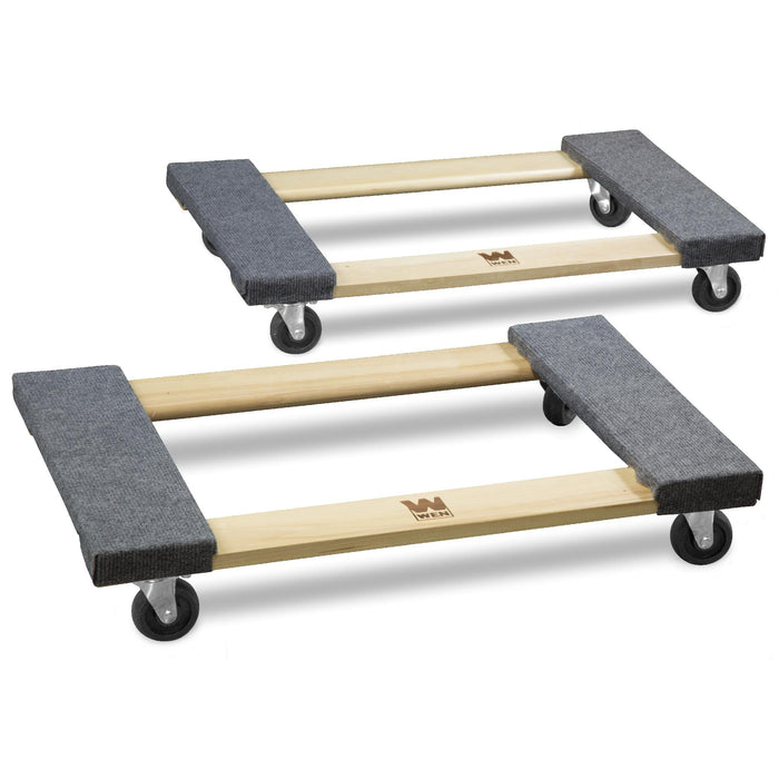 WEN 721830 1320-Pound Capacity 18-by-30-Inch Hardwood Mover's Dolly, 2-Pack