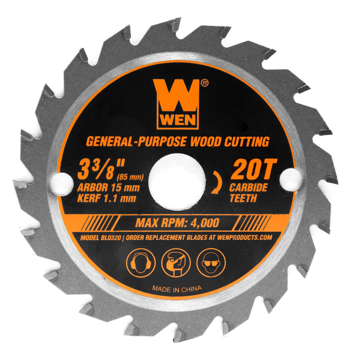 WEN BL0320 3-3/8-Inch 20-Tooth Professional Woodworking Saw Blade for Compact and Mini Circular Saws