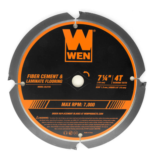 WEN BL0704 7-1/4-Inch 4-Tooth Diamond-Tipped (PCD) Professional Circular Saw Blade for Fiber Cement and Laminate Flooring
