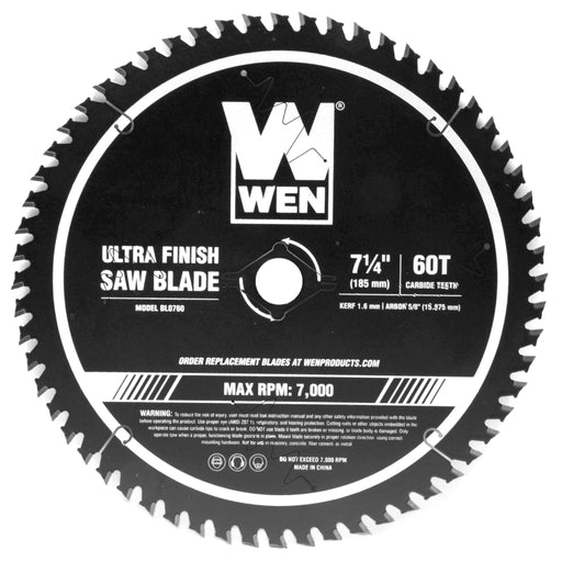 WEN BL0760 7.25-Inch 60-Tooth Carbide-Tipped Professional Ultra Fine-Finish Circular Saw Blade with Cool-Cut Coating