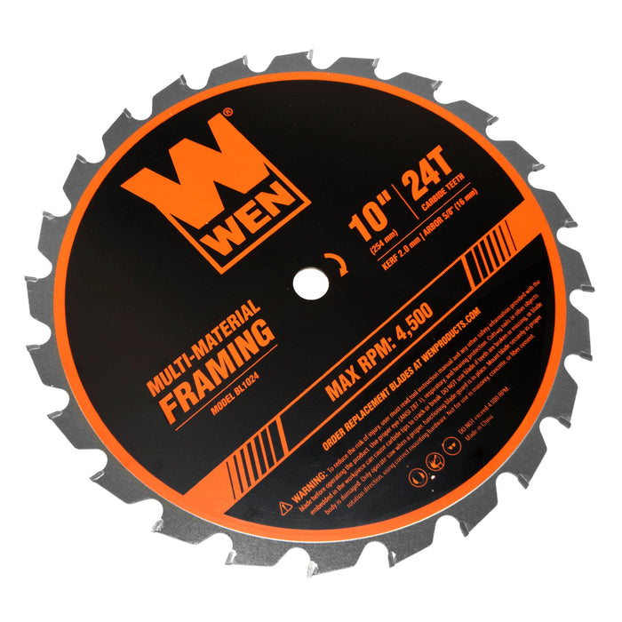 WEN BL1024 10-Inch 24-Tooth Carbide-Tipped Professional Multi-Material Framing Saw Blade