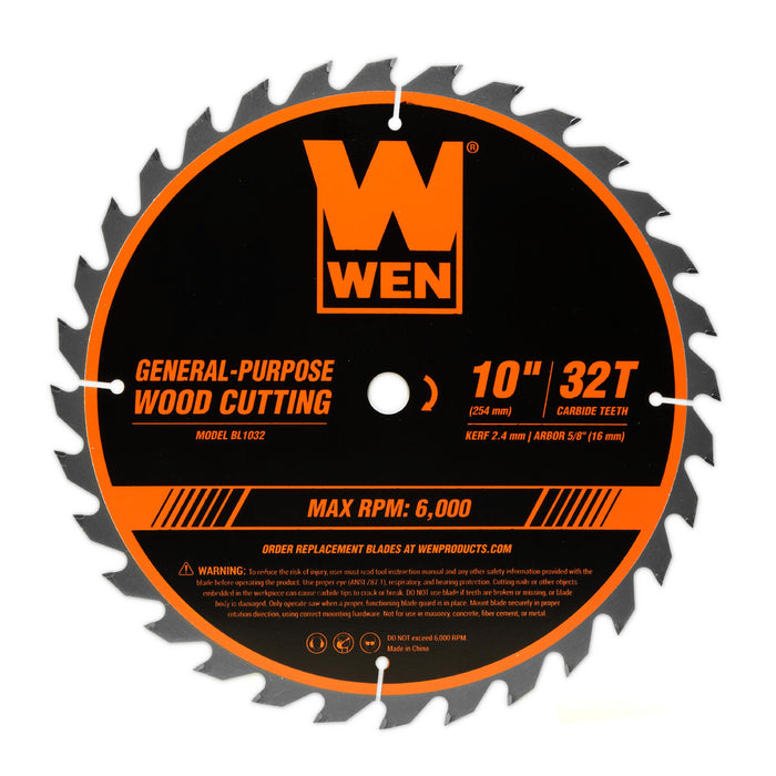 WEN BL1032-2 10-Inch 32-Tooth and 60-Tooth Carbide-Tipped Professional Woodworking Saw Blade Set, Two Pack