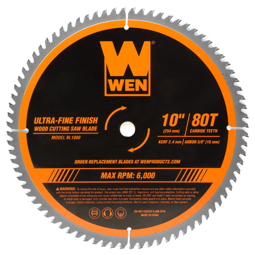 WEN BL1080 10-Inch 80-Tooth Carbide-Tipped Ultra-Fine Finish Professional Woodworking Saw Blade for Miter Saws and Table Saws