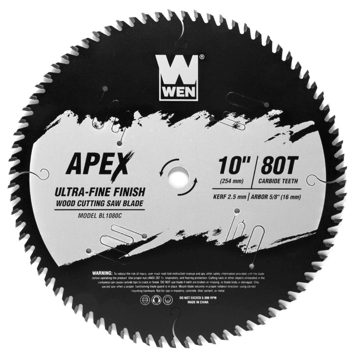 WEN BL1080C Apex 10-Inch 80-Tooth Carbide-Tipped Ultra-Fine-Finish Industrial-Grade Woodworking Saw Blade with Cool-Cut Coating