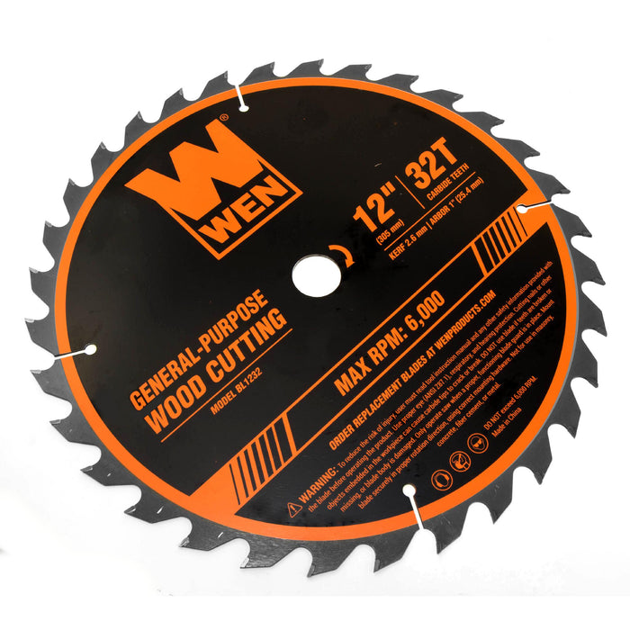 WEN BL1232-2 12-Inch 32-Tooth and 80-Tooth Carbide-Tipped Professional Woodworking Saw Blade Set, Two Pack