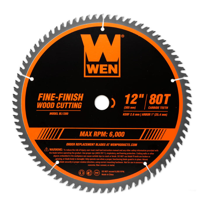 WEN BL1280 12-Inch 80-Tooth Fine-Finish Professional Woodworking Saw Blade for Miter Saws and Table Saws