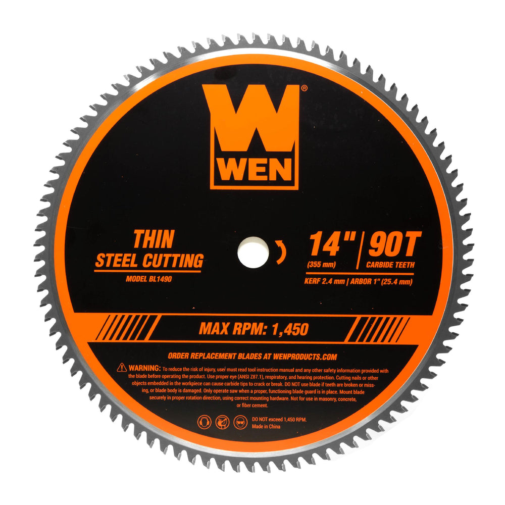WEN BL1490 14-Inch 90-Tooth Carbide-Tipped Professional Metal Saw Blade for Thin Steel Cutting