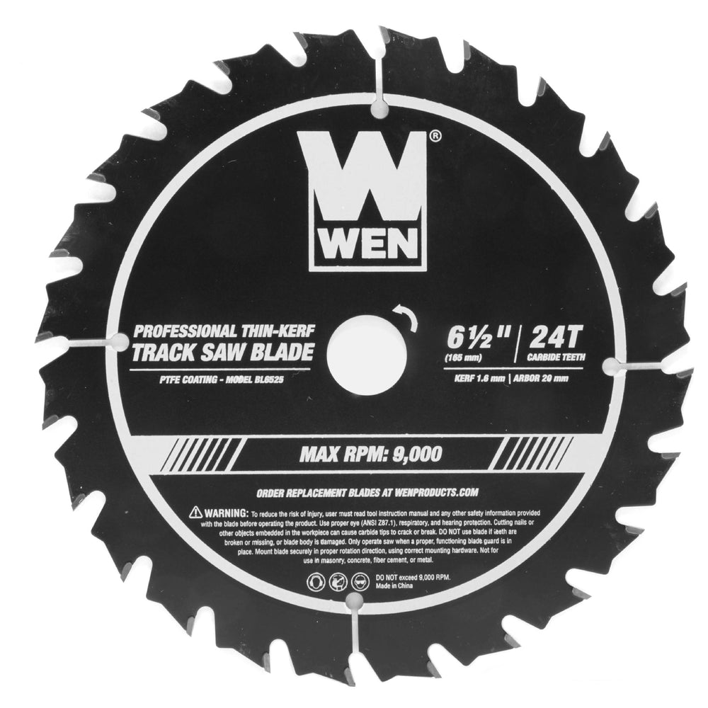 WEN BL6525 6.5-Inch 24-Tooth Carbide-Tipped Thin-Kerf Professional Track Saw Blade with PTFE Coating