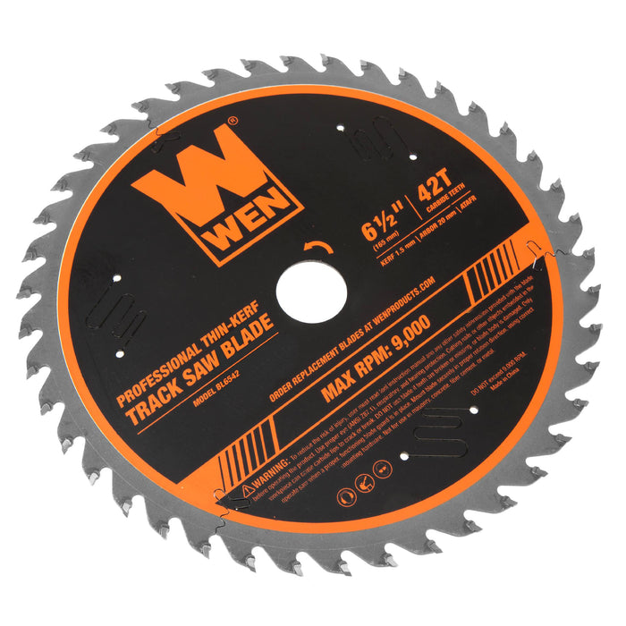 WEN BL6542 6.5-Inch 42-Tooth Carbide-Tipped Thin-Kerf Professional ATAFR Track Saw Blade