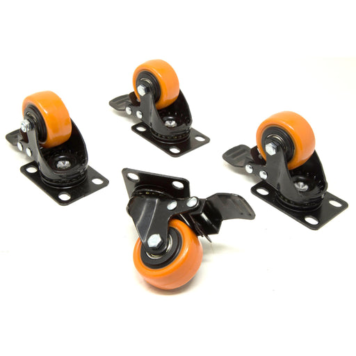 WEN CA1162B 2-Inch 155-Pound Capacity Double-Bearing Polyurethane Swivel Plate Caster with Brake (4-Pack)