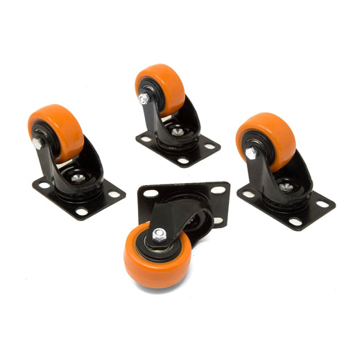 WEN CA1162W 2-Inch 155-Pound Capacity Double-Bearing Polyurethane Swivel Plate Caster (4-Pack)