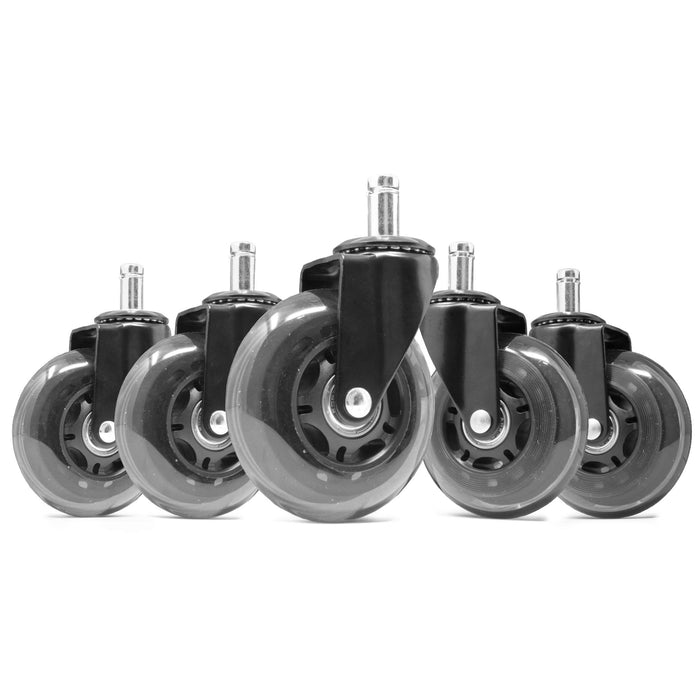 WEN CA305W 3-Inch Polyurethane Replacement Office Chair Swivel Caster Wheels, 5-Pack