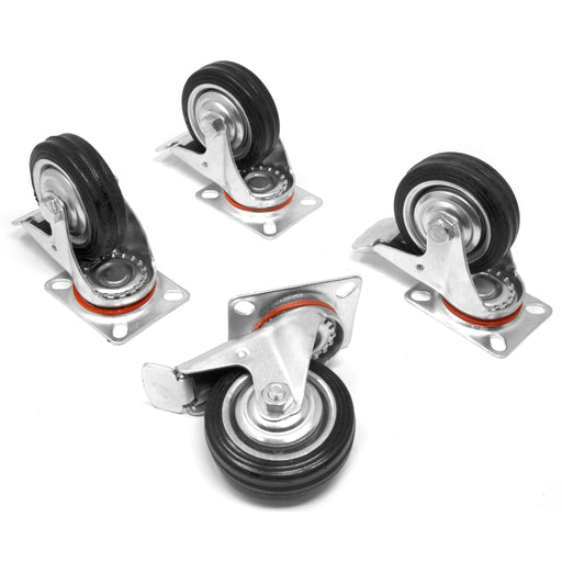 WEN CA5113B 3-Inch 110-Pound Capacity Roller-Bearing Rubber Swivel Plate Caster with Brake (4-Pack)