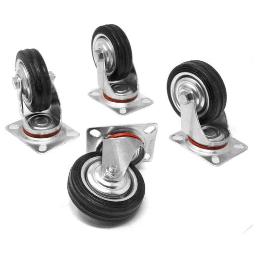 WEN CA5113W 3-Inch 110-Pound Capacity Roller-Bearing Rubber Swivel Plate Caster (4-Pack)