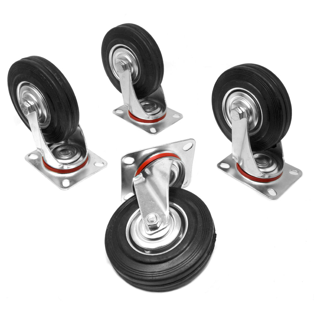 WEN CA5225W 5-Inch 220-Pound Capacity Roller-Bearing Rubber Swivel Plate Caster (4-Pack)