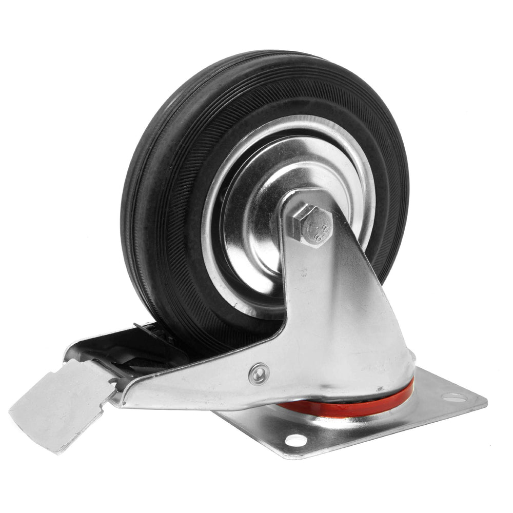 WEN CA5336B 6-Inch 330-Pound Capacity Roller-Bearing Rubber Swivel Plate Caster with Brake