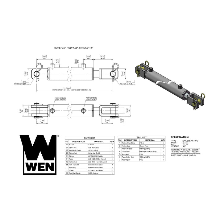 WEN CC2004 Clevis Hydraulic Cylinder with 2-inch Bore and 4-inch Stroke
