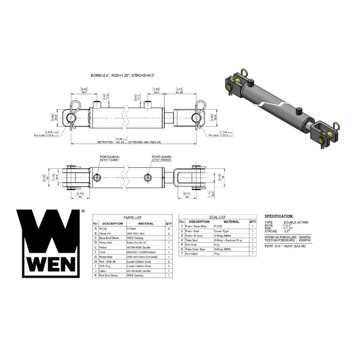 WEN CC2008 Clevis Hydraulic Cylinder with 2-inch Bore and 8-inch Stroke
