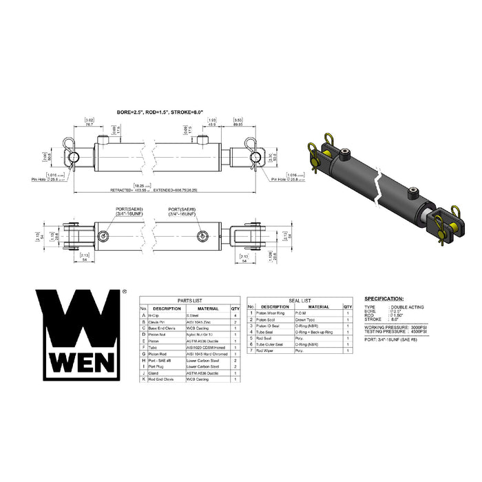 WEN CC2508 Clevis Hydraulic Cylinder with 2.5-inch Bore and 8-inch Stroke