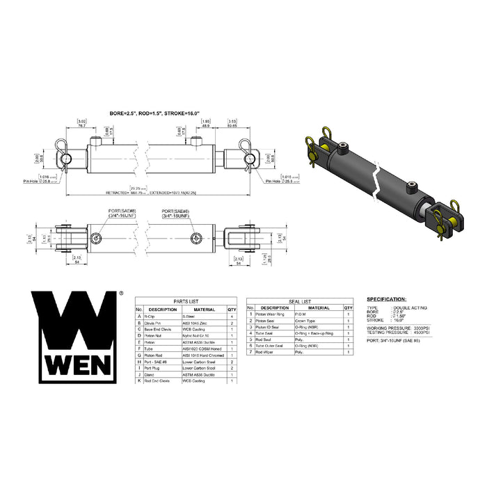WEN CC2516 Clevis Hydraulic Cylinder with 2.5-inch Bore and 16-inch Stroke