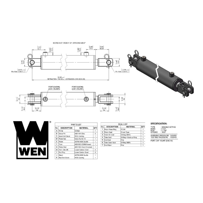 WEN CC3020 Clevis Hydraulic Cylinder with 3-inch Bore and 20-inch Stroke