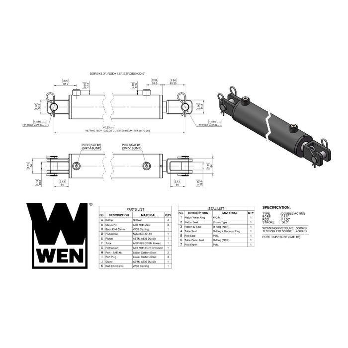 WEN CC3030 Clevis Hydraulic Cylinder with 3-inch Bore and 30-inch Stroke