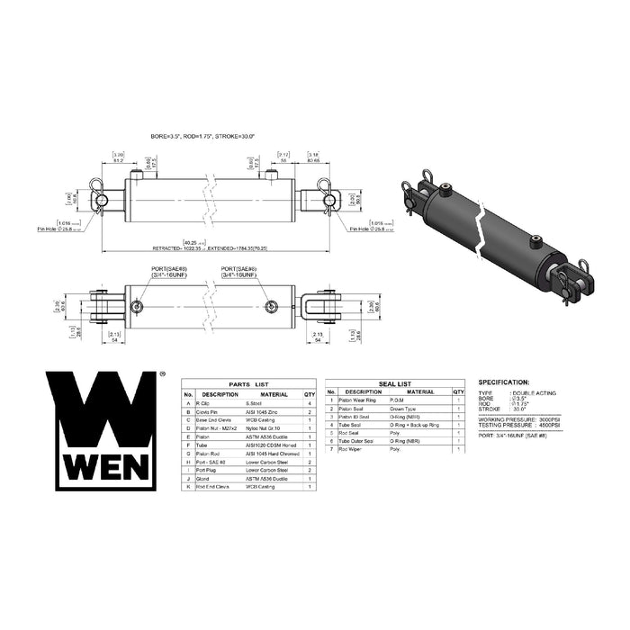 WEN CC3530 Clevis Hydraulic Cylinder with 3.5-inch Bore and 30-inch Stroke